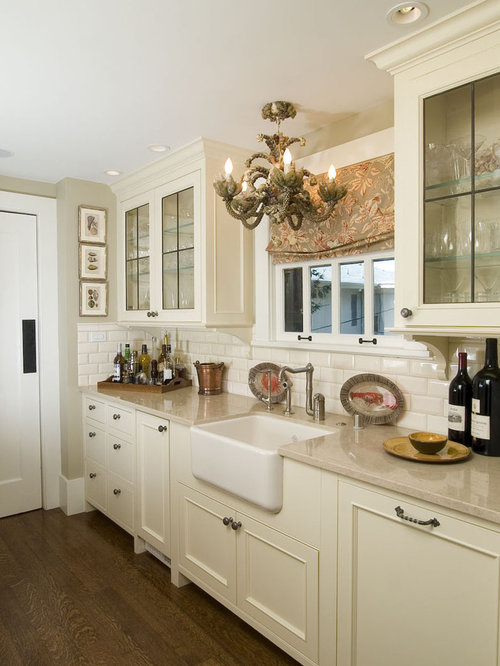 Traditional Kitchen Idea In San Francisco With Beaded Inset Cabinets A Farmhouse Sink Beige