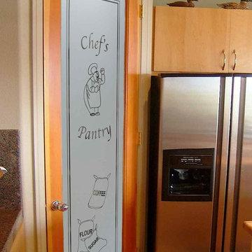 Pantry Doors - Sans Soucie Happy Chef & Sacks Glass Pantry Door