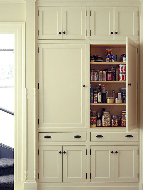 Shallow pantry cabinets houzz for Full wall kitchen units