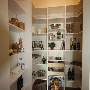 Ejemplo de cocina en U, moderna, de tamaño medio, sin isla, con despensa, puertas de armario blancas y suelo de baldosas de terracota