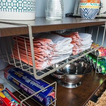 Pantry Shelving Organization   Organized Living freedomRail in Chocolate Pear
