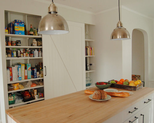 Inspiration For A Farmhouse Kitchen Remodel In Chicago With Open Cabinets,  White Cabinets And Wood