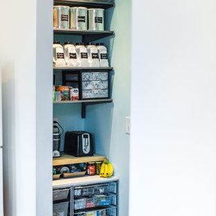Kleine Industrial Küche mit Vorratsschrank, grauen Schränken, dunklem Holzboden und braunem Boden in Atlanta
