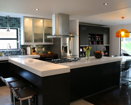 houzz kitchens contemporary iced white quartz countertops home design ideas 1739