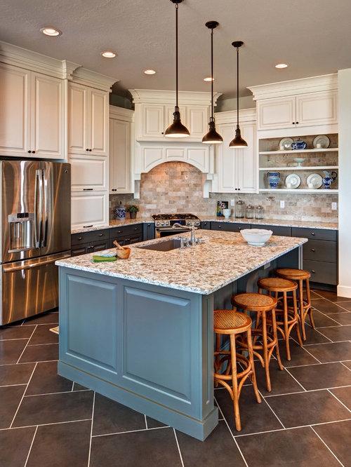 Elegant kitchen photo in Salt Lake City with an undermount sink,  raised-panel cabinets