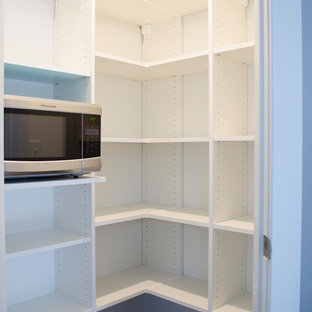 Large modern kitchen pantry in Other with open cabinets, white cabinets, stainless steel appliances, carpet and brown floor.