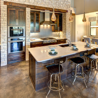 Large Elegant L Shaped Concrete Floor Eat In Kitchen Photo Austin With An