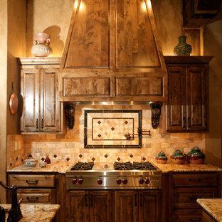 Mediterranean kitchen designs - Kitchen - mediterranean kitchen idea in Dallas with granite countertops