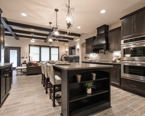 Inspiration For A Transitional Kitchen Remodel In Seattle With  Recessed Panel Cabinets, Dark Wood