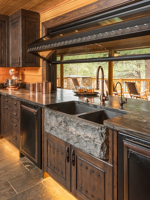 Rustic Kitchen with Slate Floors Design Ideas & Remodel Pictures   Houzz