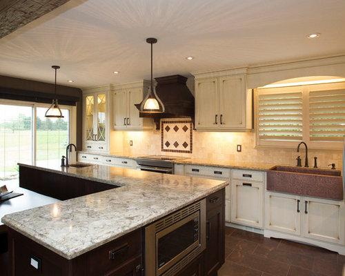 shabby chic style k chen mit terrakottaboden ideen bilder houzz. Black Bedroom Furniture Sets. Home Design Ideas