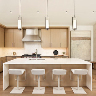 Contemporary Kitchen Pictures Example Of A Trendy L Shaped Light Wood Floor And Beige