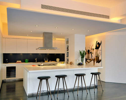 Inspiration for a contemporary galley kitchen remodel in New York with  flat-panel cabinets,