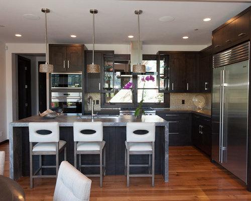 Transitional Open Plan Kitchen Design Ideas Renovations Photos