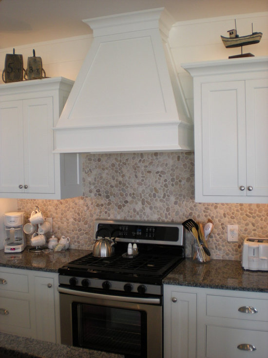 river rock backsplash | houzz