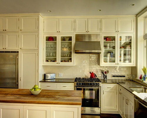 Elegant L Shaped Kitchen Photo In New York With Shaker Cabinets, Stainless  Steel Appliances