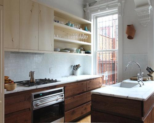 ... cabinets, light wood cabinets, white backsplash, mosaic tile
