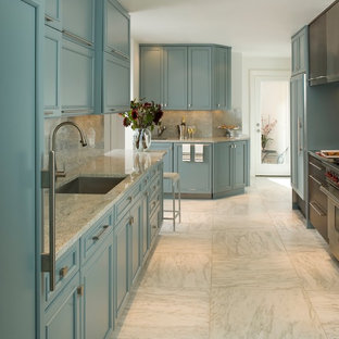 Photo of a mid-sized transitional l-shaped separate kitchen in Dallas with a single-bowl sink, beaded inset cabinets, green cabinets, granite benchtops, multi-coloured splashback, stone slab splashback, panelled appliances, marble floors and no island.