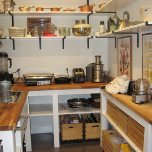 This is an example of a small country u-shaped kitchen pantry in Orlando with a single-bowl sink, open cabinets, wood worktops, stainless steel appliances and concrete flooring.