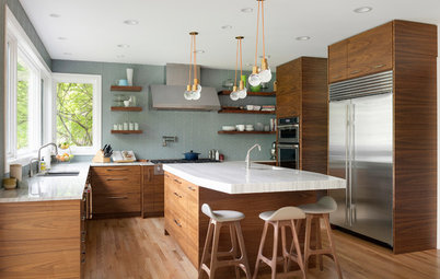Kitchen of the Week: Walnut Cabinets Channel Midcentury Style