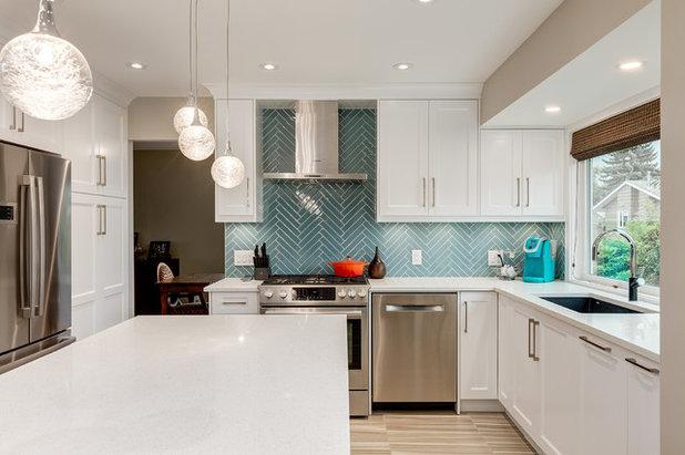 a u shaped kitchen opens up