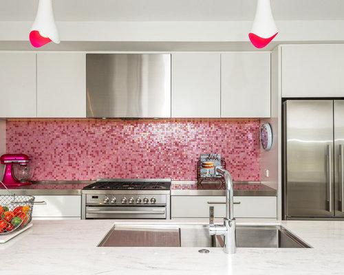 75 Kitchen with Pink Backsplash and Mosaic Tile Backsplash Design ...