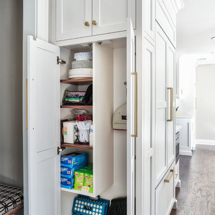 Transitional kitchen ideas - Kitchen - transitional dark wood floor kitchen idea in New York with a farmhouse sink, white cabinets, quartz countertops and paneled appliances