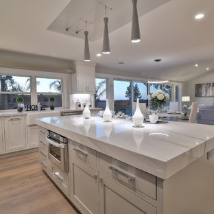 This is an example of a modern l-shaped eat-in kitchen in San Francisco with a farmhouse sink, shaker cabinets, white cabinets, quartzite benchtops, white splashback, porcelain splashback, stainless steel appliances, light hardwood floors, with island and green floor.