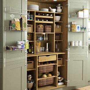 Design ideas for a traditional kitchen pantry in Other with green cabinets and light hardwood floors.