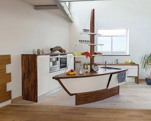 Beach Style Nautical Theme Kitchen Design Ideas, Remodels & Photos