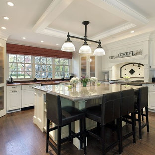 Traditional kitchen designs - Kitchen - traditional kitchen idea in Toronto with raised-panel cabinets, white cabinets and white backsplash
