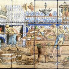 Traditional  by Hand Painted Tile Murals Glass Porcelain by Julia
