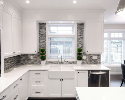 kitchen cabinets around windows backsplash around window houzz 20049
