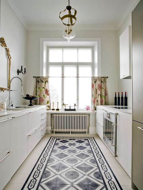 White Cabinets Kitchen Tile Floor