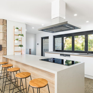 Design ideas for a contemporary galley open plan kitchen in Sydney with an undermount sink, beaded inset cabinets, white cabinets, window splashback, black appliances and a peninsula.