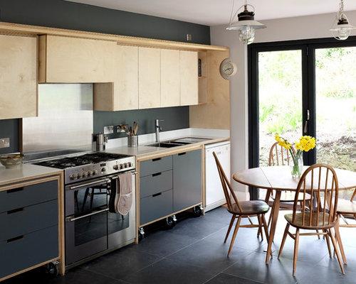 k chen mit k chenr ckwand in metallic und laminat arbeitsplatte ideen design bilder houzz. Black Bedroom Furniture Sets. Home Design Ideas