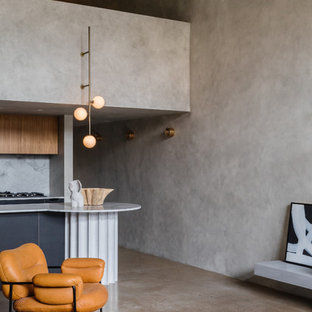 Small modern kitchen in Sydney with concrete floors and grey floor.