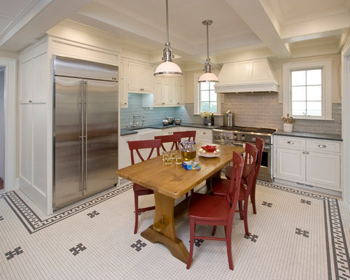 Example Of A Large Classic U Shaped Ceramic Floor Eat In Kitchen Design In