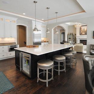 ミルウォーキーの大きいエクレクティックスタイルのおしゃれなキッチン (フラットパネル扉のキャビネット、白いキャビネット、大理石カウンター、白いキッチンパネル、セラミックタイルのキッチンパネル、シルバーの調理設備の、濃色無垢フローリング) の写真