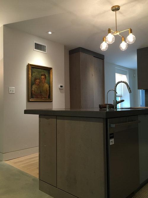 Kitchen design ideas renovations photos with blue for Kitchen zinc design