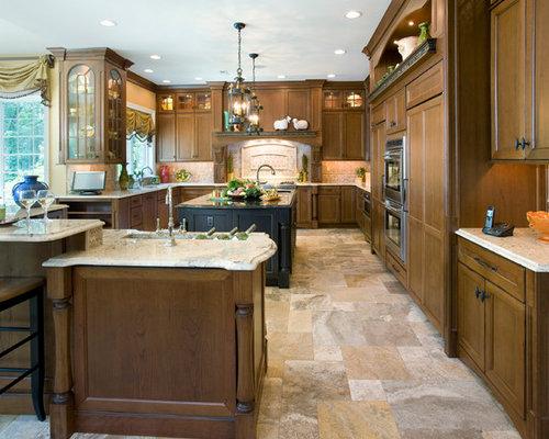 Elegant U Shaped Kitchen Photo In Philadelphia With Recessed Panel  Cabinets, Dark Wood