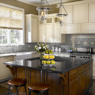 Traditional kitchen in Chicago with blue splashback, beige cabinets, raised-panel cabinets and a double-bowl sink.