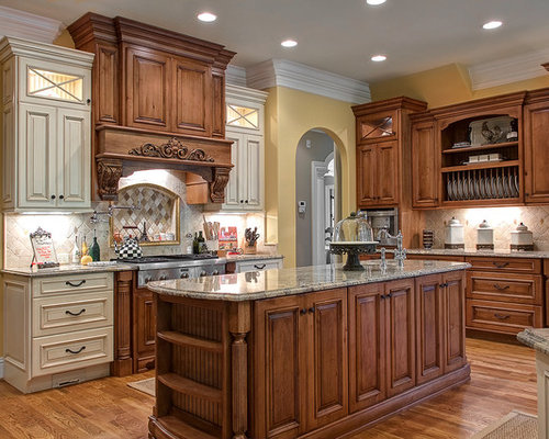 Mixing Wood And Painted Cabinets | Houzz