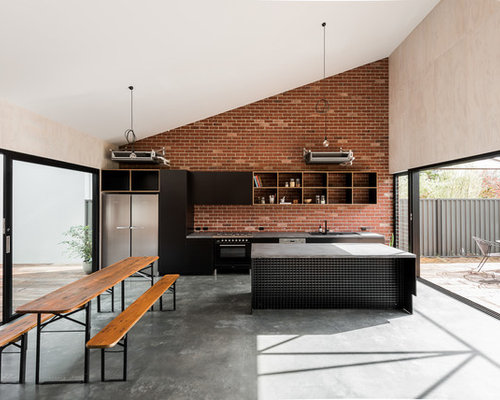 75 Kitchen with Concrete Floors Design Ideas - Stylish Kitchen with ...