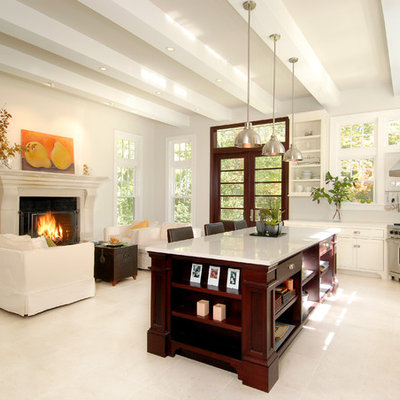 Inspiration for a timeless open concept kitchen remodel in Boston with shaker cabinets, white cabinets and stainless steel appliances