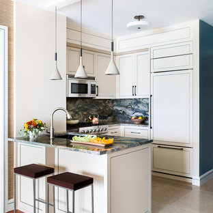 Inspiration for a small transitional u-shaped kitchen in New York with an undermount sink, quartzite benchtops, multi-coloured splashback, stone slab splashback, panelled appliances, limestone floors, beige floor, multi-coloured benchtop, recessed-panel cabinets, beige cabinets and a peninsula.
