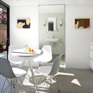 Cette image montre une cuisine américaine linéaire minimaliste avec un placard à porte plane et des portes de placard blanches.