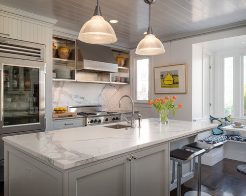 Transitional Kitchen Idea In San Francisco With Stainless Steel Appliances,  Gray Cabinets, Marble Countertops