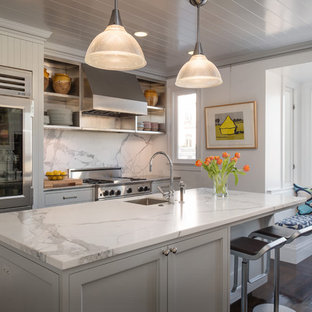 Design ideas for a transitional kitchen in San Francisco with stainless steel appliances, grey cabinets, marble benchtops and marble splashback.