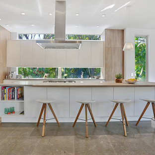 Example of a large trendy galley concrete floor open concept kitchen design in Miami with flat-panel cabinets, white cabinets, an island, an undermount sink, concrete countertops, window backsplash and paneled appliances